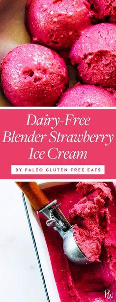 DAIRY-FREE BLENDER STRAWBERRY ICE CREAM. 17 Dairy-Free Ice Cream Recipes That Don't Require a Machine #purewow #vegan #dessert #vegetarian #food #easy #sweet #recipe #dairyfreeicecream #dairyfree #nochurn #icecreamrecipe #nochurnicecream
