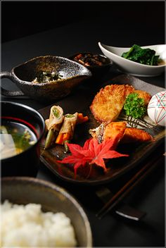 Part of a kaiseki traditional Japanese meal.  this is the sort of meal we'll be enjoying most nights!