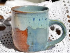 Stylish 11oz  12oz ceramic cup in Blue and by NathanSimeoneArts