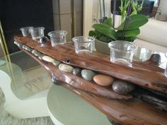 Gorgeous Driftwood Candle Holder with Ocean Rocks - BEAUTIFUL!!!