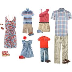 For the big family photo this summer, I like the bottom 2 outfits for my kids and maybe jeans for dad instead.