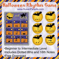 Bats and Cats Rhythm Game If you have a group lesson coming up or you are looking for a Halloween game, here is one I posted a few years ago. I'm reposting it today in case you have forgotten about...