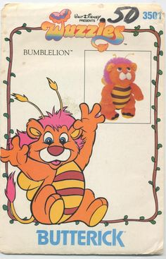 Walt Disneys Wuzzles BumbleLion Butterick can find 80 cartoons and more on our website. Retro Toys, Vintage Toys, Craft Patterns, Vintage Sewing Patterns, Walt Disney, My Lil Pony, 80 Cartoons, Saturday Morning Cartoons, Cartoon Tv Shows