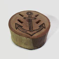 Wooden USB Flash Drive Holder - USB Holder, USB Drive, Anchor, Wood Burning, Nautical Art, Dot Work Art, Office Decor, Office Accessories