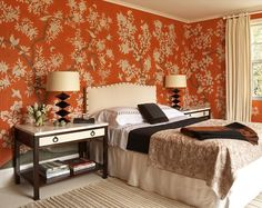 love the headboard and the orange, brown and creme