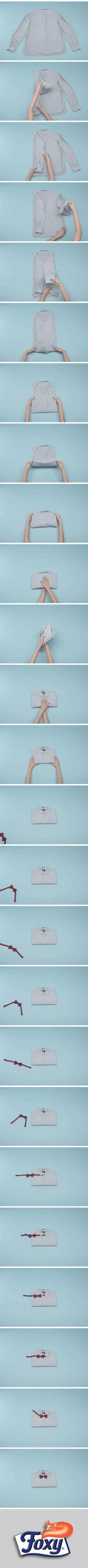 Che siate nati con la camicia o no, prima o poi arriva il momento di indossarne una. Per non trovarla sgualcita quando arriverà quel giorno, imparate a piegarla per bene su http://www.foxymega.it/minimize/impara-tecnica-di-piega.php?id=Camicia_uomo #minimize #foxy #spazio #camicia #piegare #ordine #abbigliamento #organization #ideas #home #space