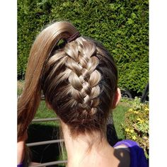 Upside down 5 strand braid into ponytail