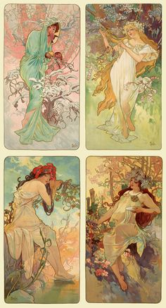The Seasons By Alfons Mucha 1896 Luna Art Nouveau Mucha, Alphonse Mucha Art, Art Nouveau Poster, Inspiration Art, Art Inspo, Design Art Nouveau, Illustration Art Nouveau, Jugendstil Design, Street Art