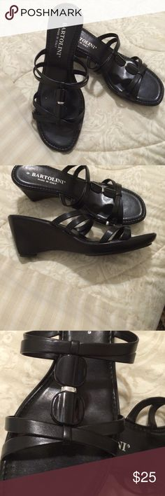 """Black Bartolini Wedges Black Bartolini Wedges Made in Italy leather with black stones 2"""" heel Bartolini Shoes Wedges"""