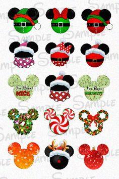 """Christmas Mickey Head DIGITAL Bottle Cap image sheet 4x6 1"""" inch DIY by SwirlyColorPixels on Etsy https://www.etsy.com/listing/116237472/christmas-mickey-head-digital-bottle-cap"""