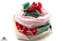 Patchwork-Loop-Schal in Deiner Lieblingsfarbe: rot, weiss und mint