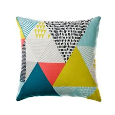 One of this season's most popular designs, the on trend Modern Jungle cushion features a striking geometric print of jumbo triangles in array of gorgeous bright colours. Welcome this contemporary cushion into your home for a unique and modern styling piece.