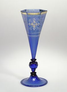 Unknown, Goblet, German or Bohemian, second half of 16th century, Free- and mold-blown light cobalt-blue glass with gold leaf and enamel decoration, 20.5 x 7.8 cm (8 1/16 x 3 1/16 in.)