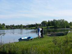 Couple fishing, Gladwin, michigan, Pond, fishing, boats, nature.