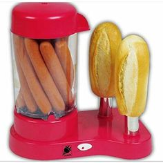 A hot dog steamer to cook your hot dogs AND toast your buns in just eight doggone minutes! Corn Dog Maker, Bacon Nation, Pizza Baker, Bakers Oven, Great Northern Popcorn, Grill Panini, Breakfast Sandwich Maker, Pancake Art, Tortilla Press