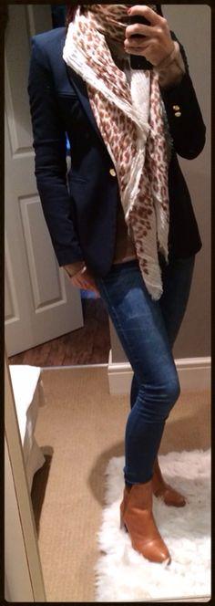 Navy blazer, camel jumper, animal print scarf & tan ankle boots.