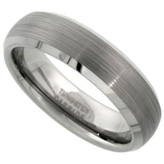 Tungsten Carbide 6 mm Dome Wedding Band Ring Satin Finished Mirror Beveled Edges, sizes 5 to 12 Sabrina Silver. $24.50