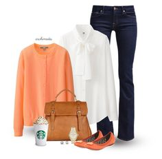 """""""You're My Pumpkin"""" by archimedes16 ❤ liked on Polyvore featuring 7 For All Mankind, Uniqlo, Sole Society, FOSSIL, Tory Burch and Kate Spade"""