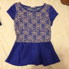 Royal Blue Open Back Peplum Top Great condition Tops
