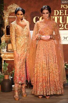 Sparkly Gold, Peach & Pink Ombré Sabyasachi #Anarkali & #Suit, Image…