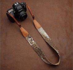 Leather Camera Strap - The DSLR Camera Strap - Nikon Camera Strap - Canon Camera Strap - Leopard Print Fabric Camera Strap