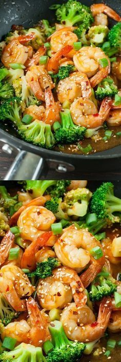 This copycat Szechuan Shrimp and Broccoli recipe is ridiculously tasty and ready in just 20 minutes. Skip the restaurant and whip up this healthy dish at home! chinese food Szechuan Shrimp and Broccoli Healthy Dishes, Healthy Recipes, Healthy Meals, Delicious Recipes, Bariatric Recipes, Healthy Cooking, Vegetarian Recipes, Shrimp And Broccoli, Asian Broccoli