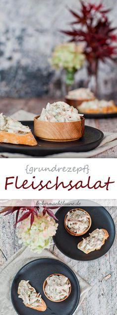 Hier gibt es ein Grundrezept für den köstlichen Klassiker Fleischsalat. Perfekt auf einem leckeren Brötchen oder einer frischen Scheibe Brot... :)