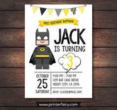 Lego Batman Birthday Party Lego Batman Invitations by PrinterFairy