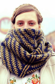 scarf, knit, gold, blue, layers, fall, winter, braid, bundled up, floral, updo from: amoebalanding