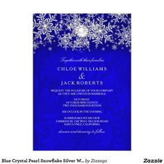 Blue Crystal Pearl Snowflake Silver Winter Wedding 5x7 Paper Invitation Card by Zizzago