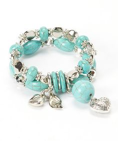 Loving this Turquoise & Silver Charm Stretch Bracelet on #zulily! #zulilyfinds   0.75'' W Charm: 0.6'' W x 2.25'' L Magnesite / pewter / acrylic