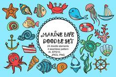 Vector Marine life doodle set. by Zarica Art on @creativemarket