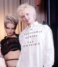 Vivienne Westwood in 1976 with Jordan, who used to travel up on the London to Brighton train, to work. I remember seeing other commuters reactions to her many outfits, lol. Those were MY days :-D