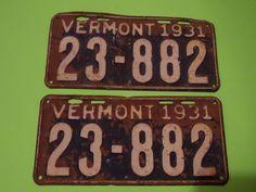 VINTAGE 1931 VERMONT LICENSE PLATE PAIR 23-882
