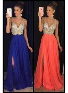 USD$215.27 - 2016 Chiffon Long Prom Dresses V Neck Crystals Side Split Royal Blue Sexy Evening Gowns - www.babyonlinedress.com