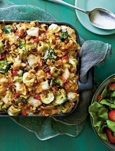 Pasta-Chicken-Broccoli Bake - Oven Lovin' Baked Pasta Recipes - Southern Living - Cheese-filled tortellini and a chopped pecan topping add extra flavor to this kid-friendly meal. Pastas Recipes, Baked Pasta Recipes, Chicken Pasta Recipes, Broccoli Recipes, Recipe Pasta, Fresh Broccoli, Salad Recipes, Dinner Recipes, Meal Recipes