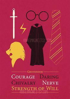 Gryffindor Minimalist Poster Harry Potter Print by AbbieImagine