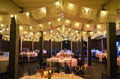 wedding festoon lighting with buntin in victoria warehouse manchester