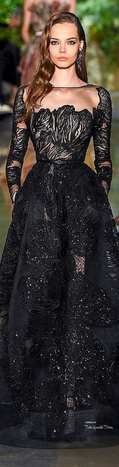 Elie Saab ~ Couture Black Sequin Gown w Embroidered Details, Spring 2015