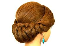 Braided Updo Hairstyle for Medium Long Hair. Más