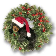 CHRISTMAS BEAR WREATH - This wreath is sure to make any door or wall inviting this season. This Christmas wreath is adorned with cones, berries and an adorable bear cub. Made in the USA! Brokerage border fees are not included in the price!
