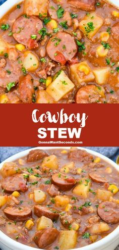 Meat Recipes 90920 *NEW* Cowboy stew is full of wholesome veggies and tender succulent varieties of savory meat that mingle to create an unmistakably crave-worthy flavor. Slow Cooker Recipes, Crockpot Recipes, Cooking Recipes, Easy Crockpot Soup, Budget Recipes, Easy Soup Recipes, Healthy Dinner Recipes, Chicken Recipes, Healthy Soups