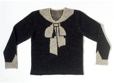 Cravat Object: Jumper Place of origin: France (made) Date:1927 (made) Artist/Maker: Schiaparelli, Elsa, born 1890 - died 1973 (designer) Materials and Techniques: Hand-knitted woollen