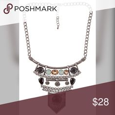 """Burnished silver tone stunning boho necklace! FACETED COLOR GEM RHINESTONE ACCENT NECKLACE  APROX LENGTH: 9"""" LEAD AND NICKEL COMPLIANT PRODUCT Jewelry Necklaces"""