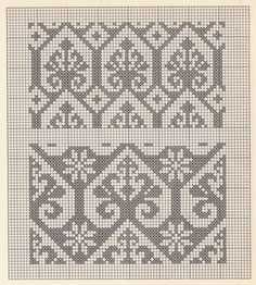 """patterns and stitches"" - It Was A Work of Craft Filet Crochet Charts, Knitting Charts, Crochet Blanket Patterns, Knitting Patterns, Crochet Lace Edging, Crochet Cross, Thread Crochet, Crochet Borders, Crochet Squares"
