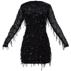 Black Sequin Detail Long Sleeve Mini Dress ($45) ❤ liked on Polyvore featuring dresses, short dresses, long-sleeve mini dress, long sleeve sequin dress, sequin dress and long sleeve mini dress