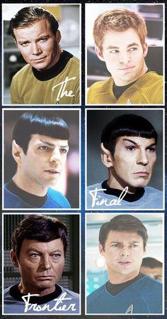 Star Trek comparison between old Kirk, Spock and Bones to new Kirk, Spock and Bones. Star Trek 2009, New Star Trek, Star Wars, Star Trek Tos, Star Trek Characters, Star Trek Movies, Spock, Johnny Depp, Vaisseau Star Trek
