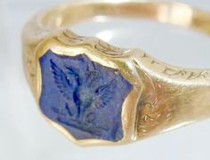 9kt gold heraldic signet ring With Lapis shield intaglio seal depicting a two headed eagle