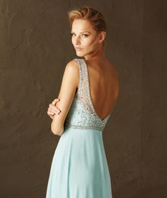 Barbara - Cocktail dress with plunging V on the back in tulle, gauze and gemstones