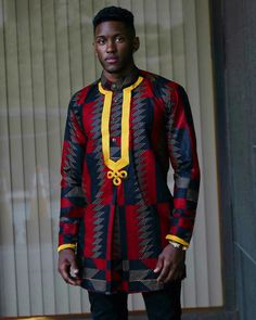 No-Tribe Clothing — The sikani shirt - red/blk African Shirts For Men, African Clothing For Men, African Print Fashion, African Prints, African Attire, African Wear, African Dress, African Outfits, African Style